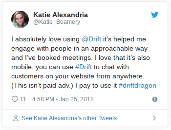 A tweet from a happy Drift software customer having a strong emotional attachment to them.